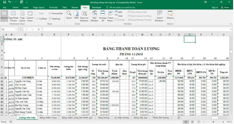 Bảng lương bảo vệ tại An Ninh Yuki